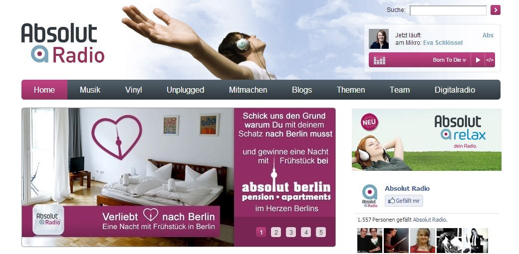 Absolut Berlin Promo auf Absolut Radio